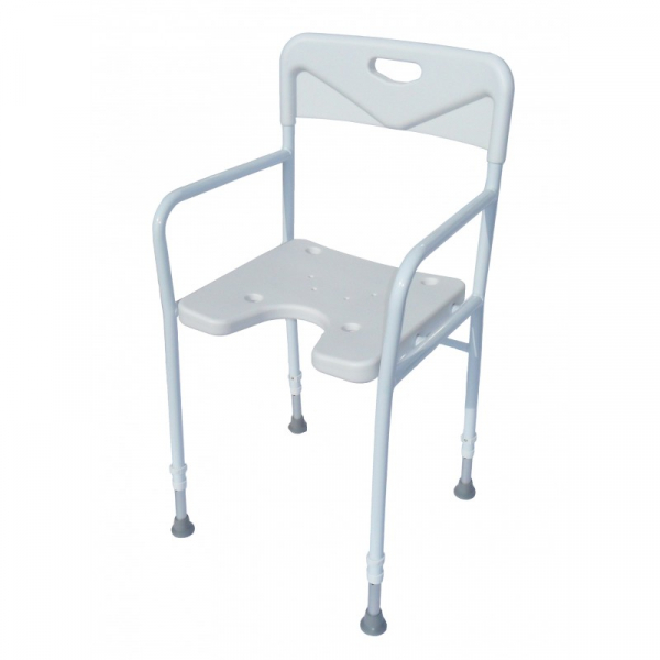 SHOWER CHAIR WITH ARM AND BACK ALUMINIUM