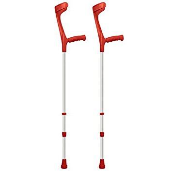 CRUTCH DOUBLE ADJUSTABLE RED 85 - 107 CM 130KG MAX