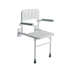 SHOWER CHAIR WALL MOUNTED WITH ARMS ADJ HEIGHT