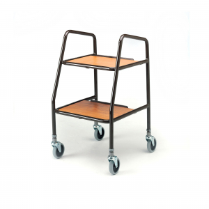 HANDY TROLLEY WITH LAMINATED WOODEN TRAY FIXED HEI