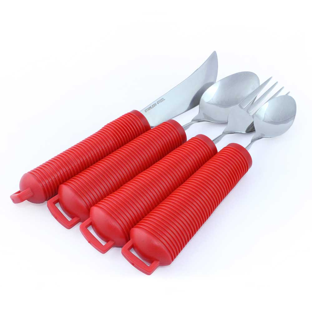 CUTLERY SET WITH RED HANDLES FOR ASSESSMENT KIT